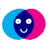 Light blue, dark blue, and pink colored circles with a smiling face drawn in the middle and having a white background that specifies the digital marketing culture in Altitude Media.