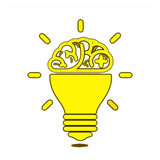 Yellow animated light bulb having a white background that specifies the broad expertise in Altitude Media.