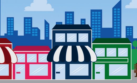 Animated small business stores near the street as the featured image of