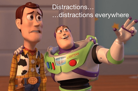 "Buzz and Woody about distraction as the featured image of ""business success through self isolation"" blog."